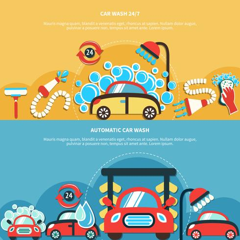 Automatiska Biltvätt Banderoller vektor
