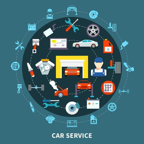 auto service design koncept vektor