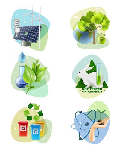 Miljöskydd 6 Ecological Icons Set vektor