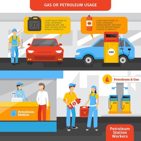 bensinstationer arbetare banderoller uppsättning vektor