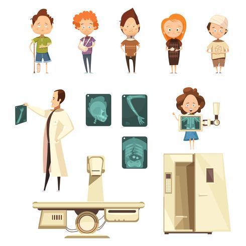 ben skada röntgen tecknad ikoner samling vektor