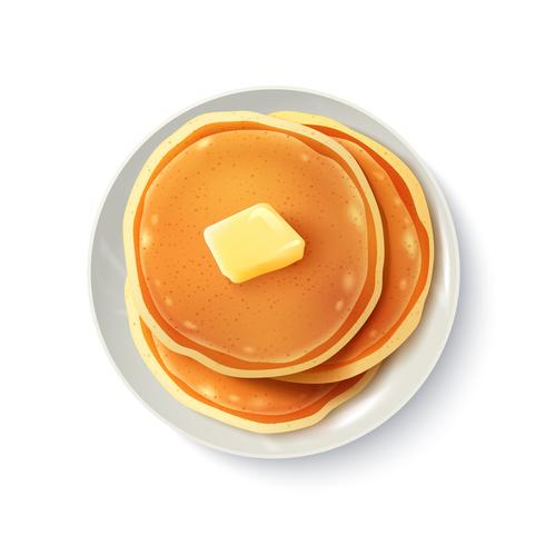 Frühstück realistische Pfannkuchen-Draufsicht-Bild vektor