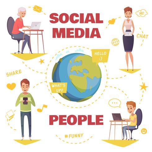 Människor I Social Media Design Concept vektor