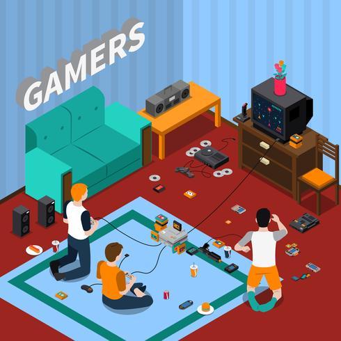 Spel Gadgets Isometrisk Mall vektor