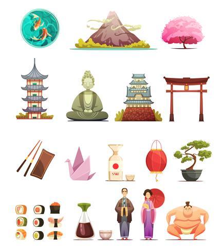 Japan Kultur Retro Tecknade Ikoner Set vektor