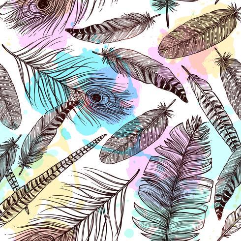 Handdragen fjädrar sömlösa mönster vektor