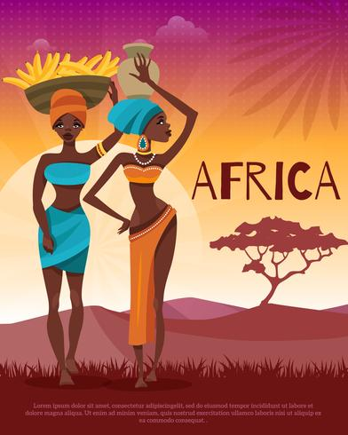 Afrikansk kultur Tribal Traditions Flat Poster vektor