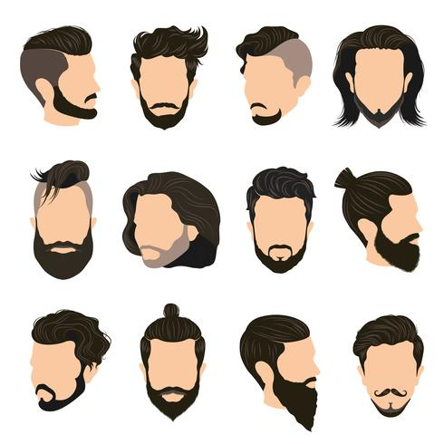 Männer Frisur Icons Set vektor