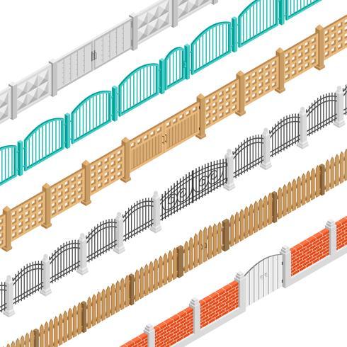 Zäune und isometrische Torelemente vektor