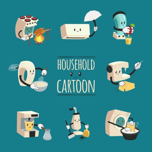 Hushållsapparater Cartoon Design Concept vektor