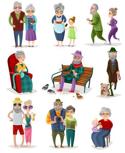Senior Människor Cartoon Set vektor