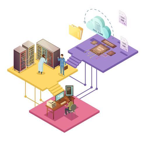 Datacenter isometrisk illustration vektor