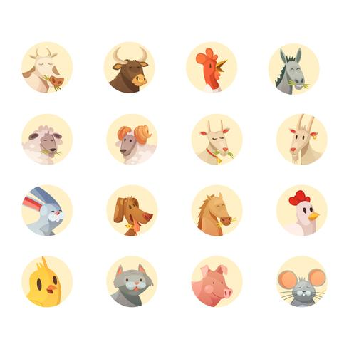 Farm Animals Heads Round Icons Collection vektor