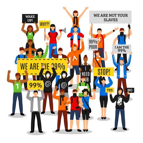 Protesterande Crowd Faceless Composition vektor