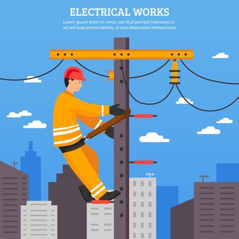 Elektriska arbeten Flat Vector Illustration