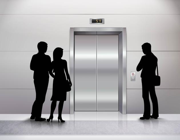 Silhuetter som väntar på hiss vektor
