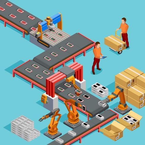 Automatiserad fabrik produktionslinje isometrisk affisch vektor