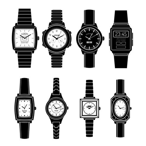 Populära klockor Styles Black Icons Set vektor