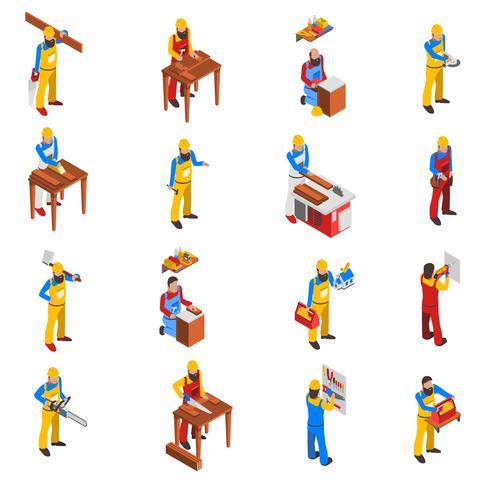 Träarbete Människor Ikoner Set vektor