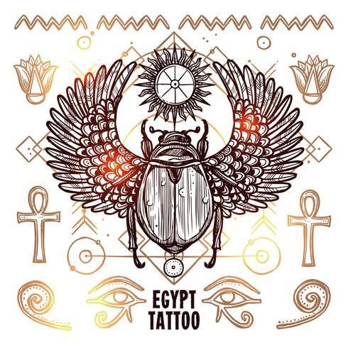 Egypten Occult Tattoo Illustration vektor