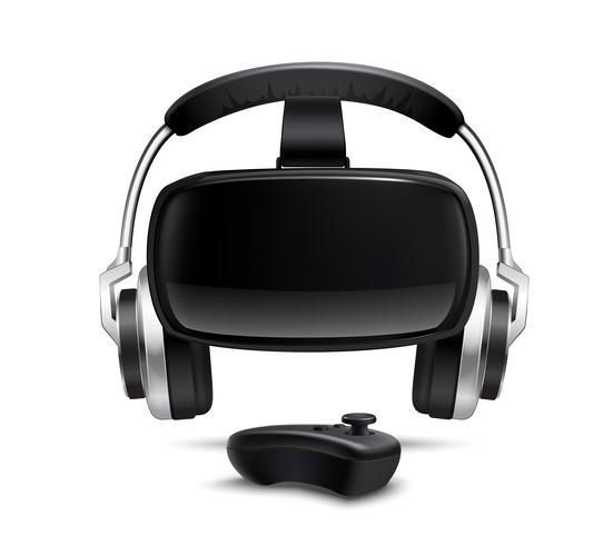 VR Headset Kopfhörer Gamepad Realistisches Bild vektor