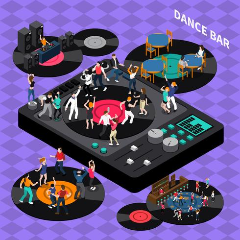 Isometrisches Kompositionsplakat der Dance Club Bar vektor