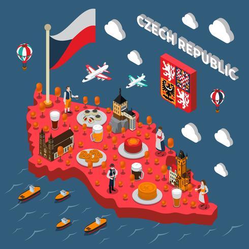 Touristische Anziehungskräfte der Chech-Republik isometrische Karte vektor