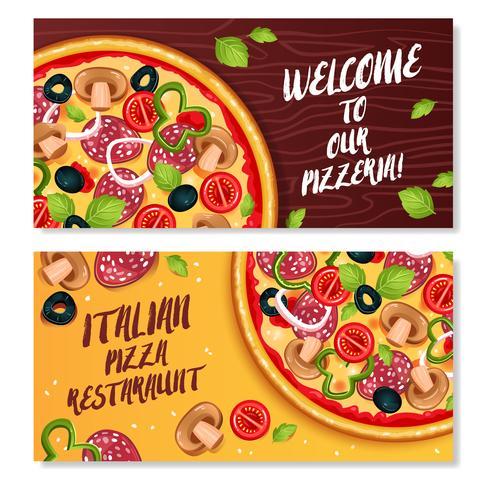 Italienska Pizza Horisontella Banderoller vektor