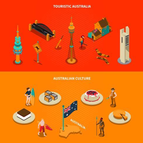 Australische touristische Anziehungskräfte 2 isometrische Fahnen vektor