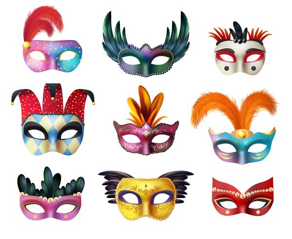 Maskerade-Karneval-Gesichtsmasken-realistischer Satz vektor
