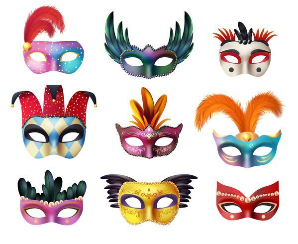 Masquerade Carnival Face Masks Realistic Set vektor