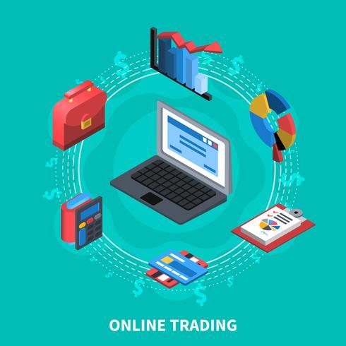 Online-Handel mit isometrischer Zusammensetzung vektor