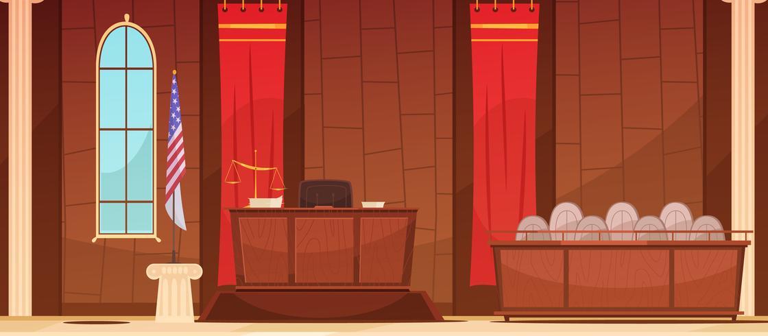 Gesetzesgerechtigkeit Courtroom Sitting Retro Poster vektor