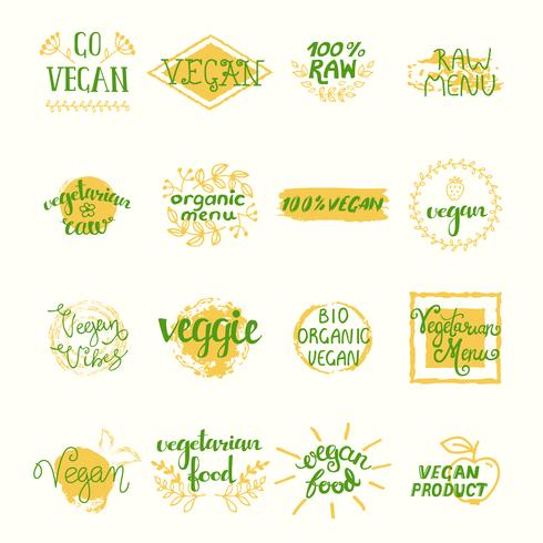 vegan retro element set vektor