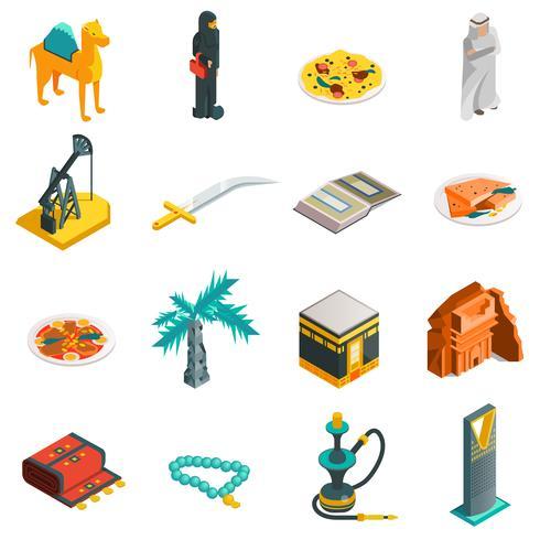 Isometrische touristische Ikonen Saudi-Arabiens eingestellt vektor