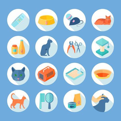 Kattvård platta runda ikoner uppsättning vektor