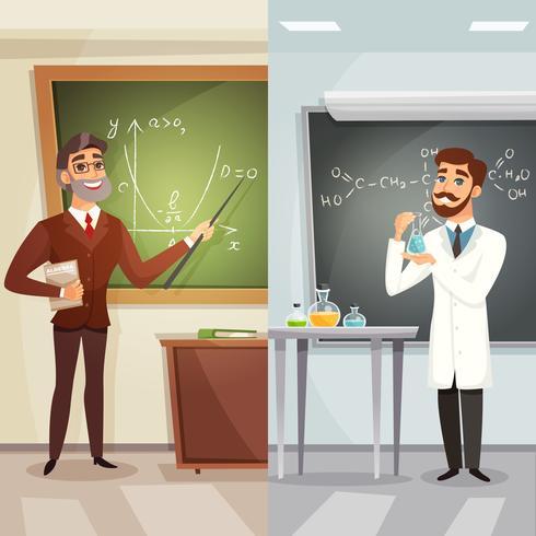 Schulunterricht-Karikatur-vertikale Fahnen vektor