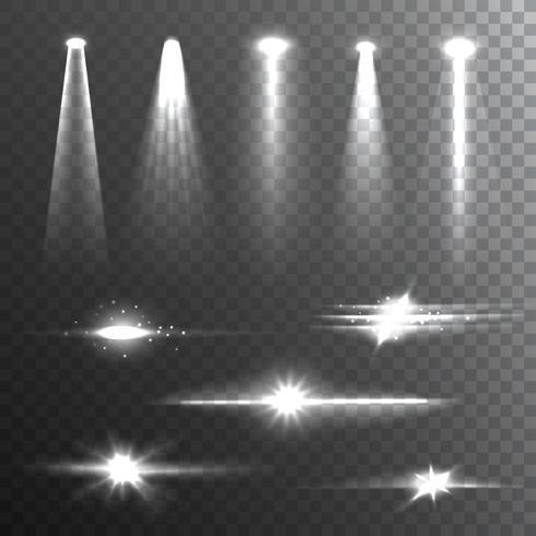 Lichtstrahlen weiß auf schwarzer Zusammensetzung vektor