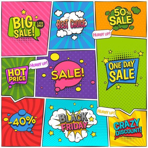 försäljning komisk sida design vektor