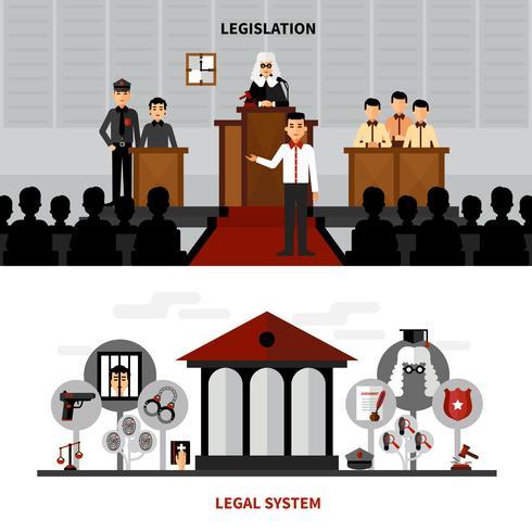 Gesetzgebung Gesetz 2 Flache Banner Zusammensetzung vektor