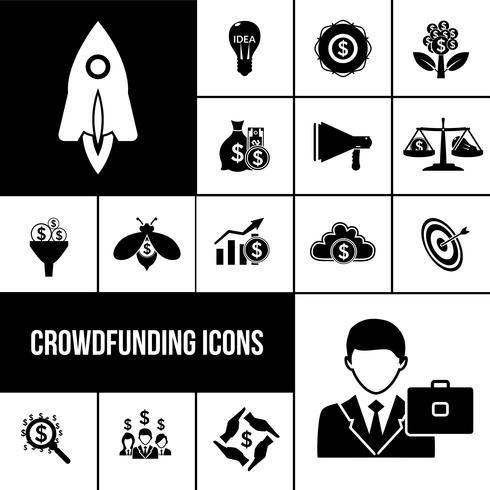 Crowdfunding-Ikonenschwarzsatz vektor