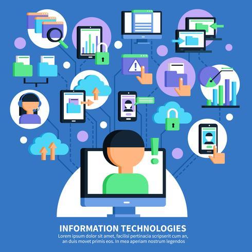 Informationstechnologie-flache Illustration vektor