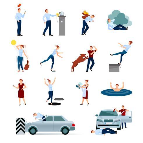 Unfallverletzungen Gefahren dekorative Icons Set vektor