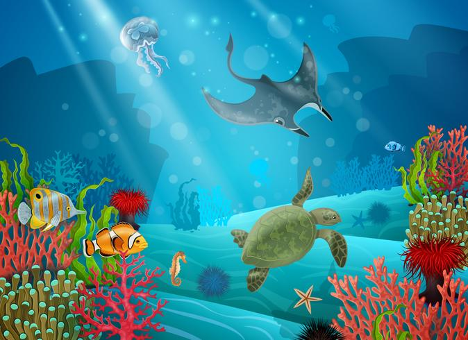 tecknade landskap under vatten vektor