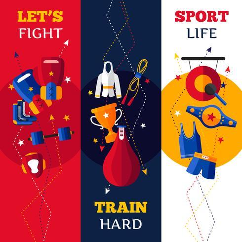 Boxing Attribute Vertikale Banner eingestellt vektor