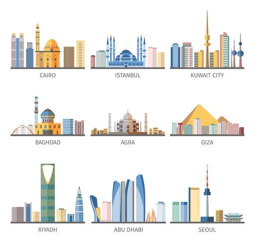 Östliche Stadtbilder Sehenswürdigkeiten Flat Icons Collection vektor