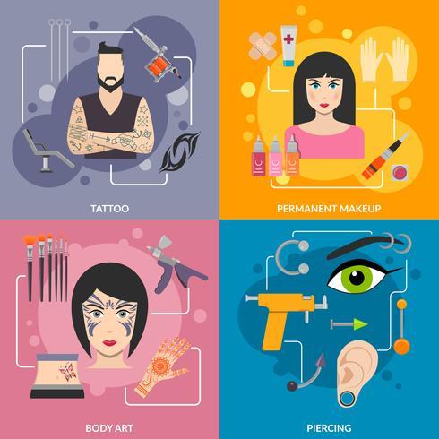 Set med bodyart tatuering piercing process vektor
