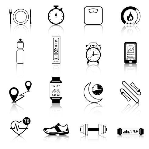 Fitness Tracker schwarze Symbole vektor