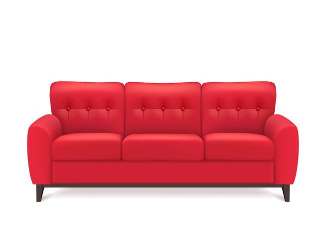 Röd läder soffa realistisk illustration vektor