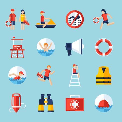 Rettungsschwimmer-Icons gesetzt vektor